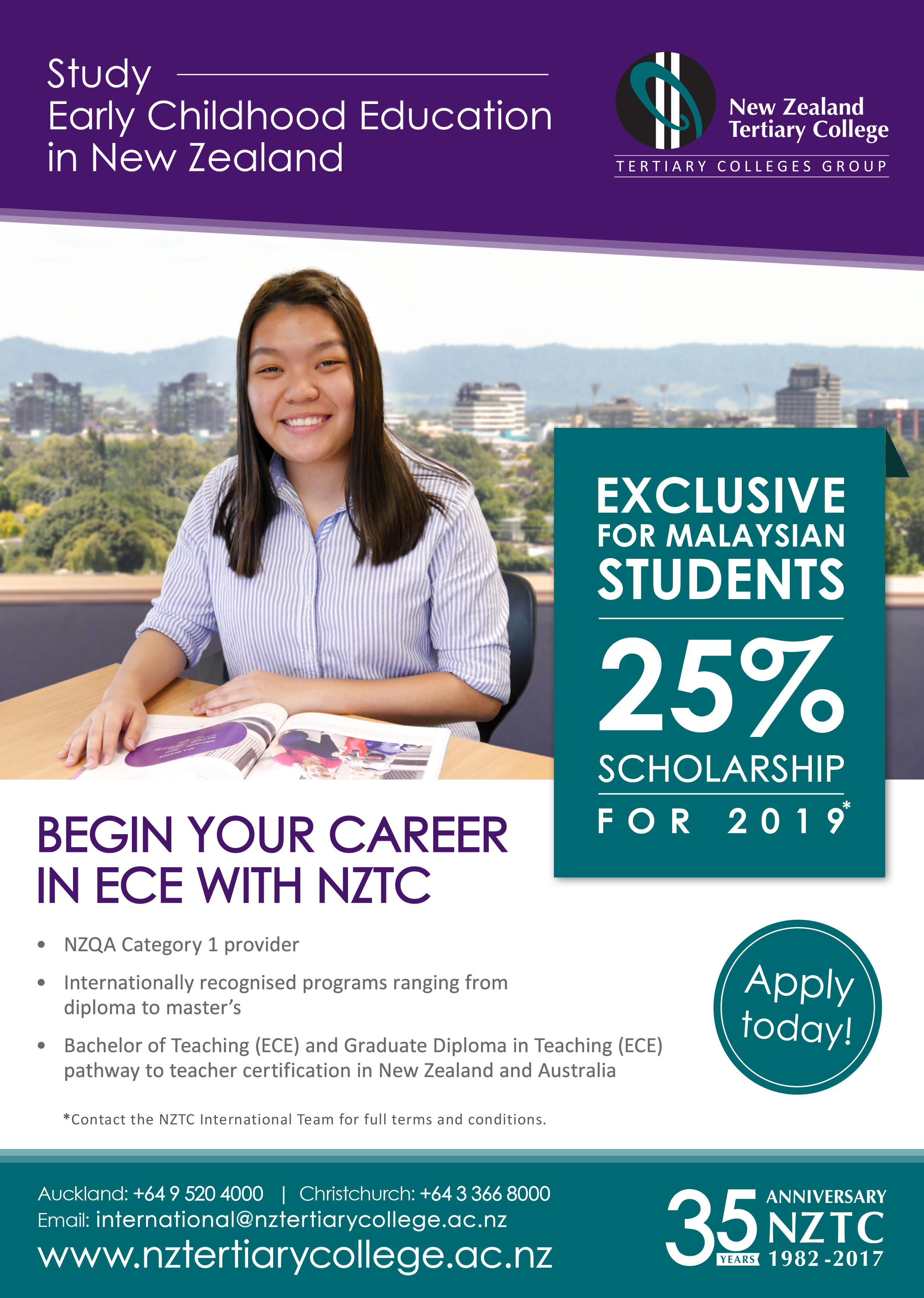 New Zealand Tertiary College 25 Scholarship 1st Year International Study Fees For Malaysian Students Raven Education Consultant Services Best Education Consultant In Kuching Sarawak Malaysia